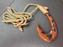 Hand Carved Natural Koa Wood Hawaii Fish Hook Necklace