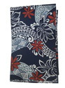 Hawaiian Cotton Navy Red Tiare Tattoo Leaf Lava Lava